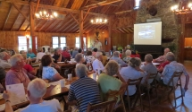 The Lodge space is great for business meetings. Shown is the Annual Pemaquid Watershed Association meeting